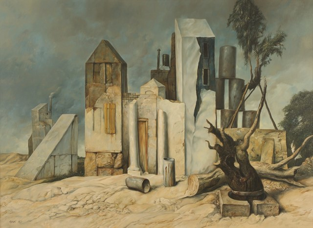 Samuel Bak, 'Houses, 1973, Oil on canvas, 73X100 cm. Signed and dated . Provenance: Aviva Schneider Collection.', 1973, Tiroche Auction House & Gallery