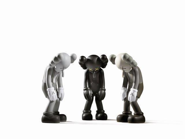 KAWS, 'Small Lie (Brown, Black & Grey)', 2017, Sculpture, Three painted vinyl multiples,, Roseberys
