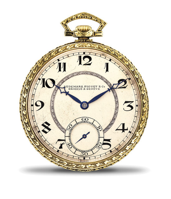 Audemars Piguet, 'An attractive engraved yellow gold open face pocket watch with Art Deco numerals', 1921, Phillips