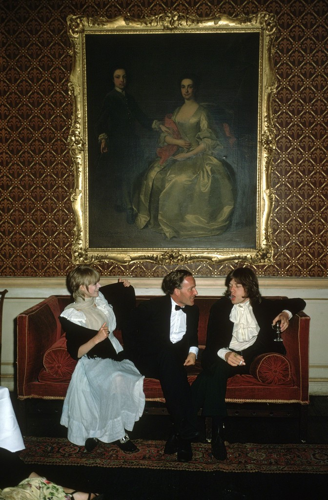 Slim Aarons, 'Pop and Society: Marianne Faithfull, Desmond Guinness, and Mick Jagger at Leixlip Castle, Ireland,' 1968, Staley-Wise Gallery