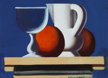Still life with glass, white jug and two oranges