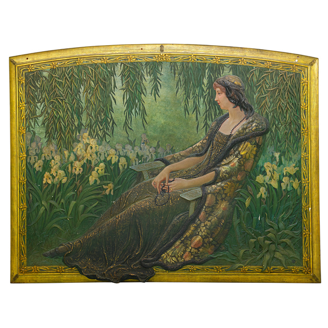 'Massive Art Nouveau Panel of a Seated Woman with Irises, Early 20th C.', Early 20th C., Rago/Wright
