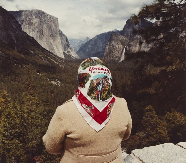 , 'Woman with Scarf at Inspiration Point, Yosemite National Park,' 1980, J. Paul Getty Museum
