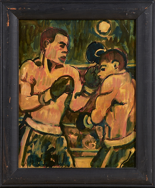 Arthur Smith, 'Four Oil And Ink Boxing Scenes On Board', Rago
