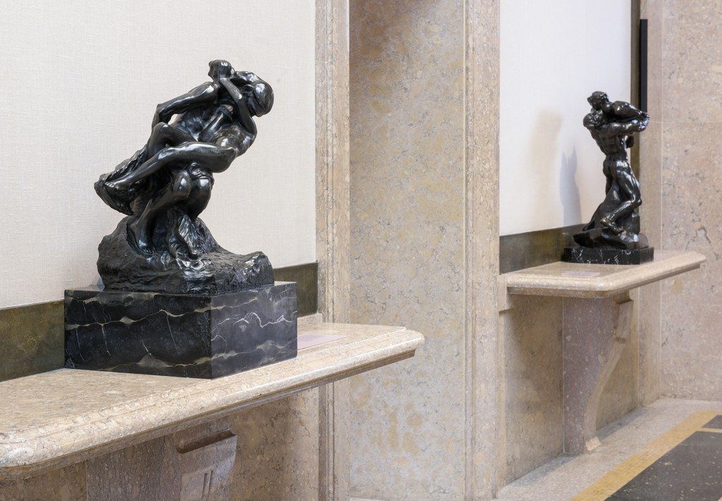 "Installation Photograph of ""The Kiss at the Rodin Museum"" Courtesy of the Philadelphia Museum of Art."