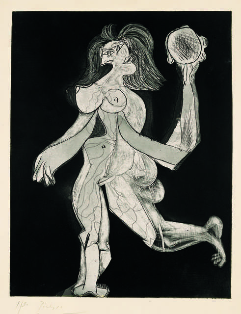 Pablo Picasso, 'La femme au tambourin (Woman with Tambourine)', 1939, Print, Aquatint and line etching on copper on Vélin d'Arches paper, sheet 1/30, printed in 1942 before steel-facing of the plate, Fondation Beyeler