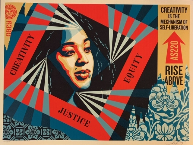 """Shepard Fairey, '""""Creativity Equity Justice""""', 2019, Print, Screen Print on Cream Speckle Tone Paper., New Union Gallery"""