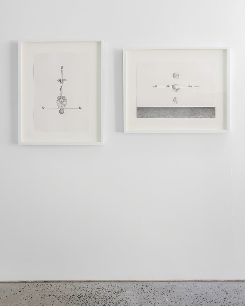 (Left) Seung Ae Lee, Becoming 2, 2018, pencil on paper, 59.4h x 42w cm; (Right) Seung Ae Lee, Becoming 1, 2018, pencil on paper, 42w x 59.4 cm, installation view