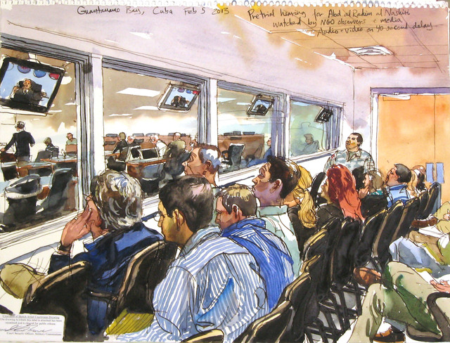 Steve Mumford, '2/5/13, Pretrial hearing for Abd al Rahim al Nashiri watched by NGO observers & media, Audio + Video on 40 second delay, Guantanamo Bay, Cuba', 2013, Drawing, Collage or other Work on Paper, Ink and wash on paper, Postmasters Gallery