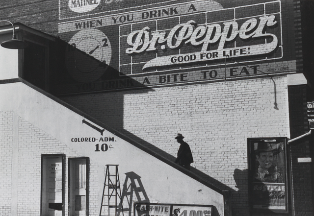 ", 'Man entering movie theater by ""Colored"" entrance,' 1939, G. Gibson Gallery"