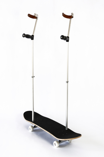 Nicolas Vionnet, 'Rock'n'Roll, Part II', 2020, Sculpture, Skateboard, forearm crutches with leather cuff, Alfa Gallery
