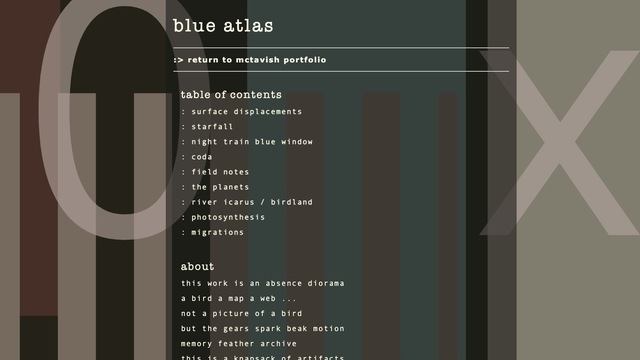 Kathy McTavish, 'blue atlas', 2020 -2021, Installation, Computer, cords, poetry, code - animations and sound, Joseph Nease Gallery
