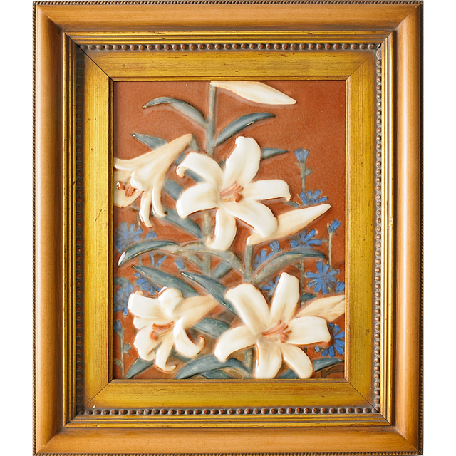 Rookwood Pottery, 'Porcelain Plaque With Lilies, Unidentified Artist (framed), Cincinnati, OH', 1931, Rago/Wright