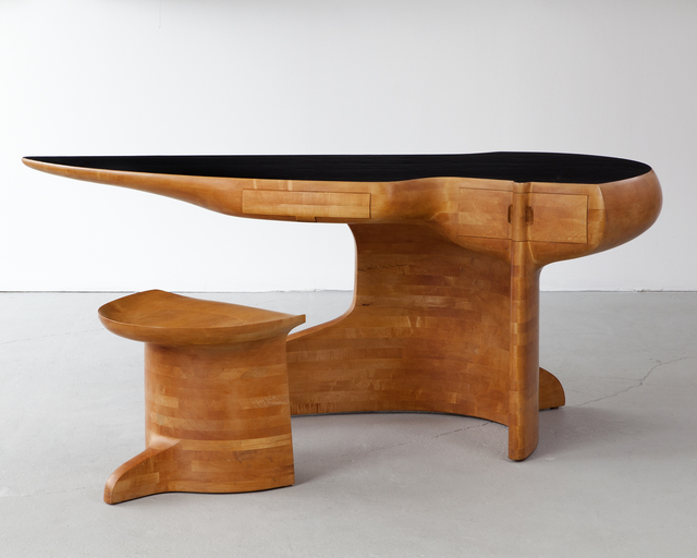 Wendell Castle, 'Stack-laminated maple desk with leather top and maple stool.,' 1979, R & Company