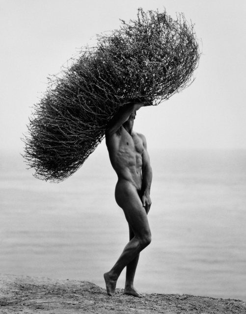 , 'Male Nude With Tumbleweed, Paradise Cove,' 1986, Edwynn Houk Gallery