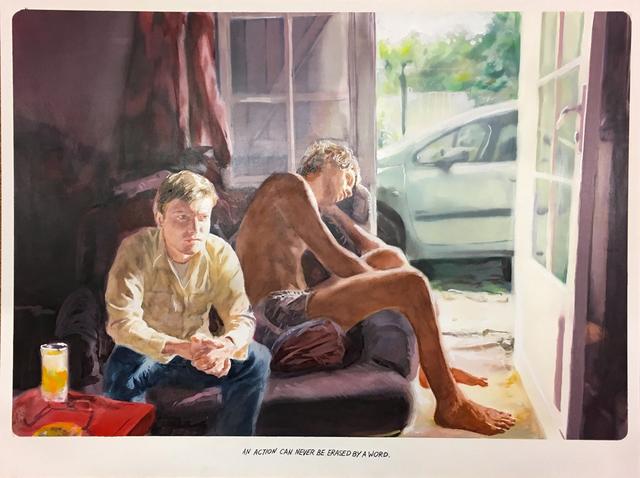 Muntean & Rosenblum, 'Untitled (An action can never...)', 2017, Painting, Oil on Cardboard, Galeria Horrach Moya
