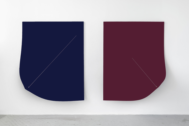, ' Work On Felt (Variation 9 & 10) Dark Blue and Bordeaux (Diptych),' 2016, Shulamit Nazarian