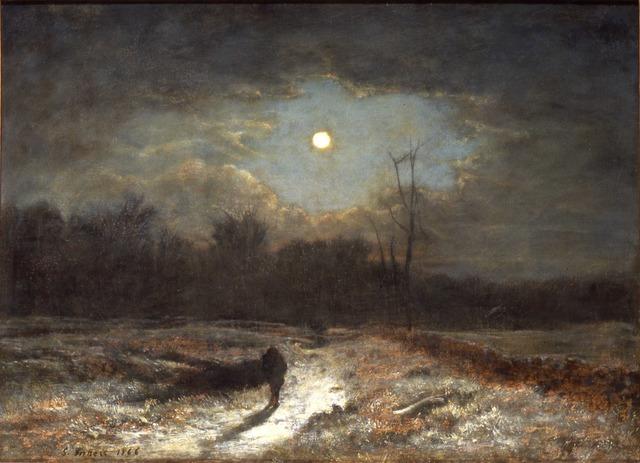 George Inness, 'Winter Moonlight (Christmas Eve)', 1866, Painting, Oil on canvas, Montclair Art Museum