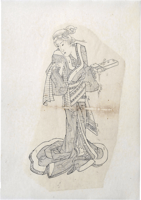Teisai Sencho, 'Preparatory Drawing for print of 'Shadow Pictures of the Floating World: Courtesan at her Toilette'', ca. 1830's, Drawing, Collage or other Work on Paper, Sumi ink on paper, Scholten Japanese Art