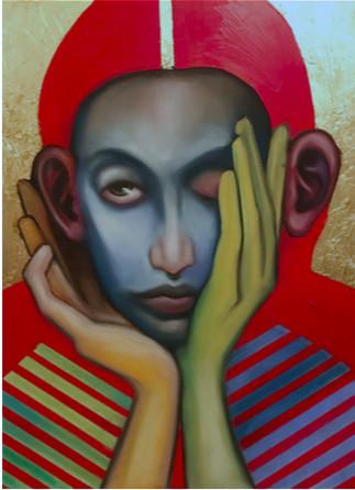 Katya Zvereva, 'WHAT ABOUT AGAIN', 2019, Painting, PASTEL/ACRLIC/ GOLDLEAF/CARDBOARD, HOFA Gallery (House of Fine Art)