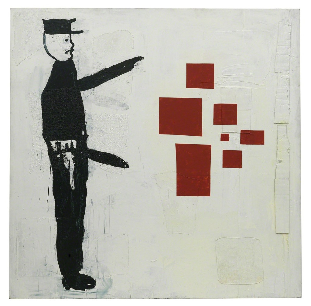 Abstract painting with policeman