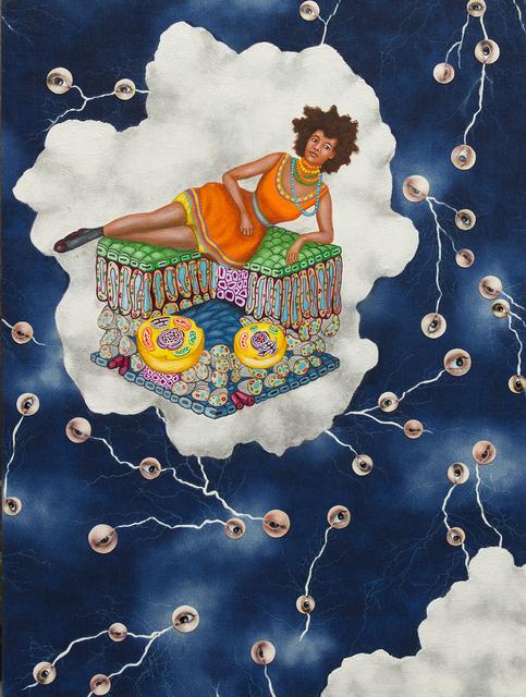 Lezley Saar, 'Lyosome Languidity', 2013, Painting, Acrylic and digital photos on fabric on board, Various Small Fires