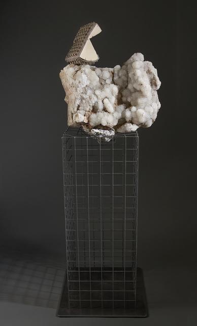 , ' Debra Baxter, Hell Bent II, 2018, quartz, steel, wood, Alexander Wang bag ,' 2018, form & concept