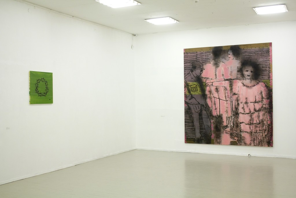 """Fragment of exhibition """"Družba"""".  On the left: Jonas Gasiūnas, """"Wreath Burnt on the Grass"""". 2018. Oil and charcoal (from candle smoke) on canvas, 100 x 95 cm. On the right:  Jonas Gasiūnas, LITHUANIAN OPERA OR WOMAN, SMOKE AND BLIND MAN (2018, oil and charcoal from candle smoke on canvas, 285 x 240 cm)."""