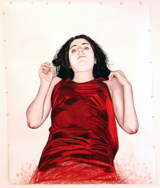 Veronica Constable, 'Convergence', Painting, Colored pencil on paper, metal clips, red ribbon, styrofoam, InLiquid
