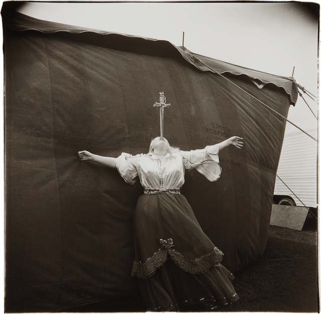 Diane Arbus, 'Albino Sword Swallower at a Carnival, MD.', 1970-printed later by Neil Selkirk, Phillips
