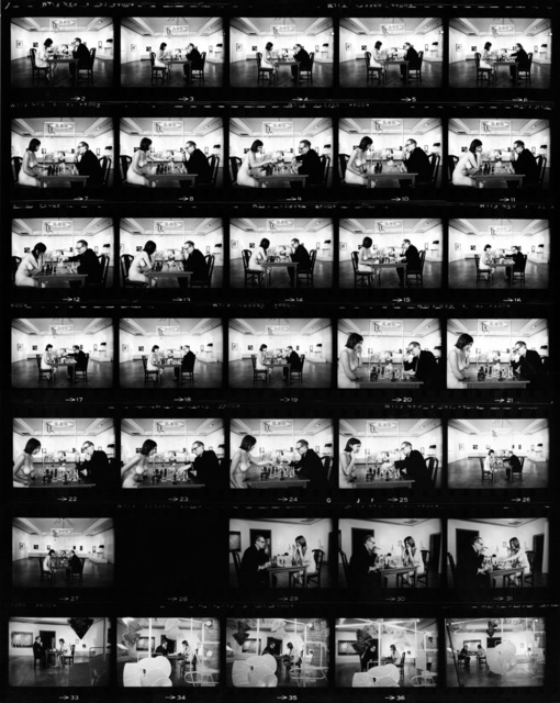 , 'Marcel Duchamp Playing Chess with a Nude Eve Babitz (Contact Sheet),' 1963, Fahey/Klein Gallery