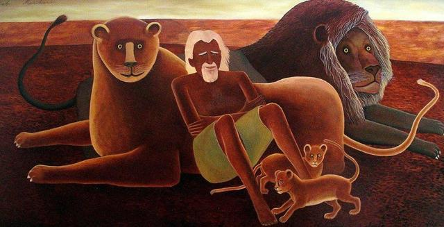 Bob Marchant, 'George  Adamson and his lions', 1980-1985, Anthony Horth Gallery