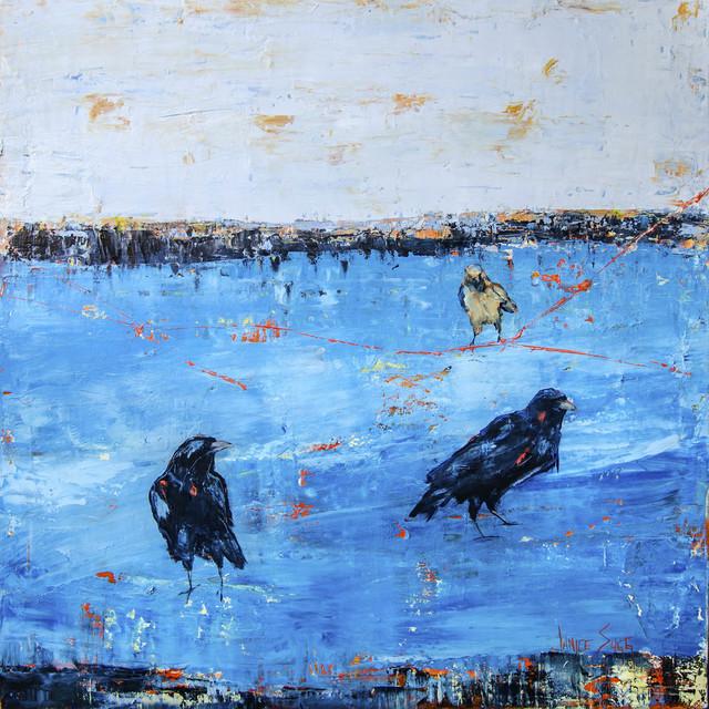 , 'Crows in Blue,' 2018, Mirada Fine Art