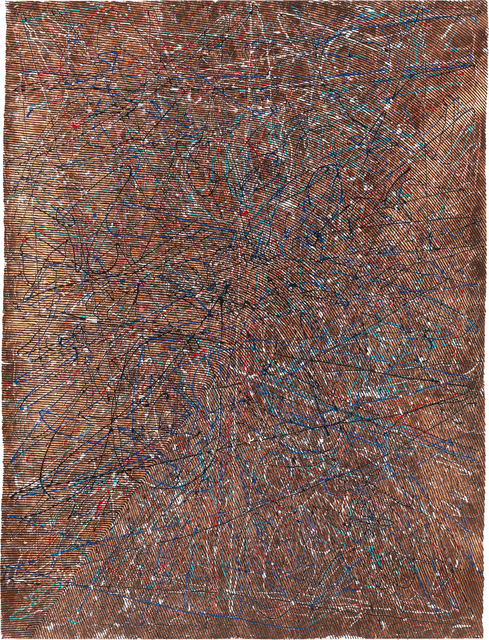 Garth Weiser, 'Drawing #40', 2012, Mixed Media, Copper leaf, acrylic and dimensional fabric paint on paper, Phillips