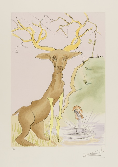 Salvador Dalí, 'The Stag Reflected in the Water (from La Fontaine's Bestiary Dalinized) (M & L 659; Field 74-1-G)', 1974, Print, Drypoint etching with pochoir printed in colours, Forum Auctions