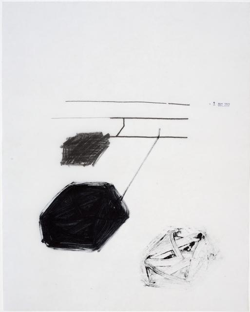 , 'Angebundene Klötze, stamped 3. Okt 2017,' 2017, Galerie Heike Strelow