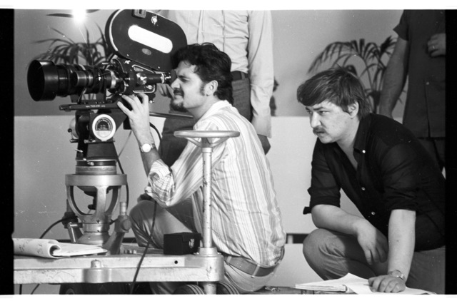 """, 'Rainer Werner Fassbinder and Michael Ballhaus on the set of """"Beware of a Holy Whore"""",' 1970-1971, Gropius Bau"""