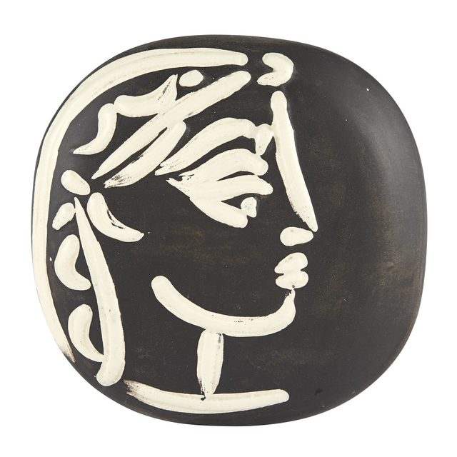 Pablo Picasso, 'PROFIL DE JACQUELINE (A.R. 385)', 1956, Design/Decorative Art, Painted and partially glazed ceramic plaque, Doyle