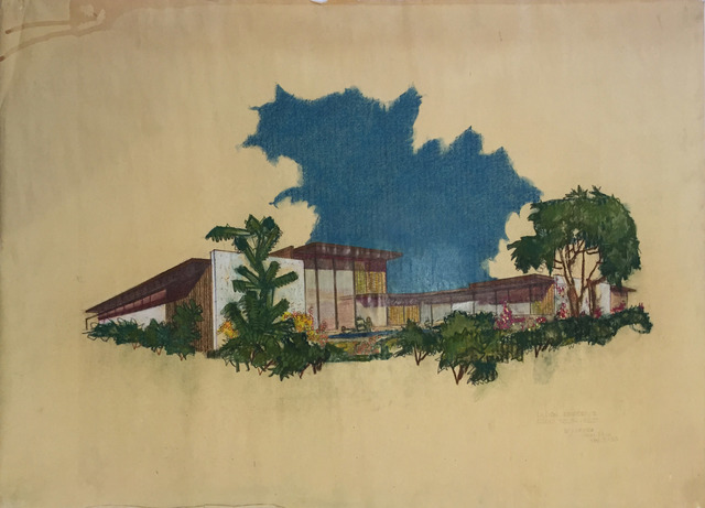 , 'Perspective Elevation from South East, Lillien Residence,' 1953, Edward Cella Art and Architecture