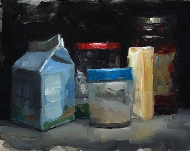 Tom Giesler, 'Study of a crowd #1: top-shelf-fridge', 2019, Painting, Oil on panel, McVarish Gallery