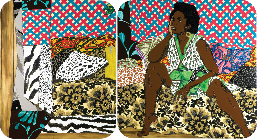 Mickalene Thomas, Baby I Am Ready Now, 2007 Diptych, acrylic, rhinestone and enamel on wooden panel, Courtesy of Rubell Family Collection, Miami