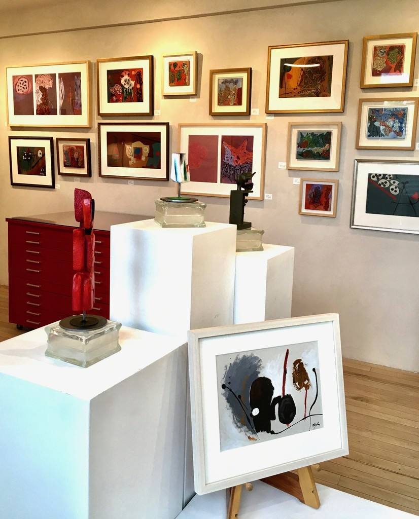 """Acrylic paintings and sculptures in bronze and painted wood as part of the exhibition 'Beyond the Far Side"""" in September 2018."""