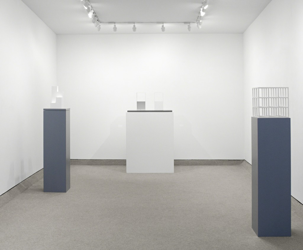 Progression #2, 2005, 2/2 (Two two-part pieces using a cube with opposite sides removed), 1968 and Untitled (Cube),1979