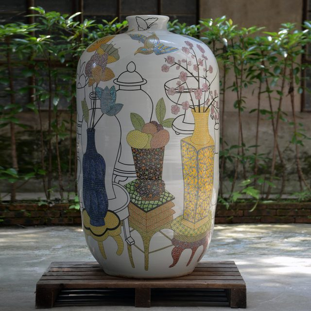 Felicity Aylieff, 'Monumental Vase; New Pots on Pots', 2016, Design/Decorative Art, Thrown and glazed porcelain with hand-painted Fencai over-glaze enamel, Adrian Sassoon