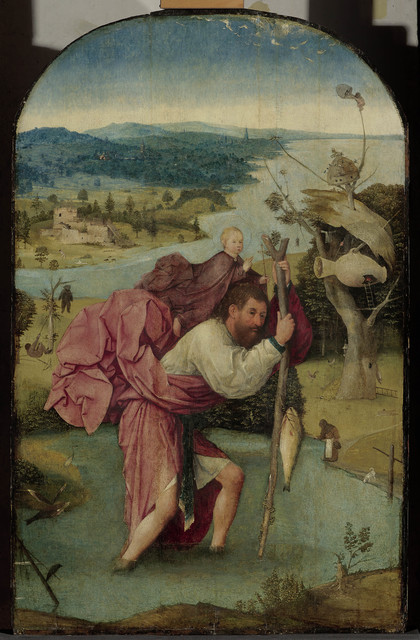 Hieronymus Bosch, 'Saint Cristopher carrying the Christ Child', 1490-1500, Painting, Oil on panel, Museo Nacional del Prado