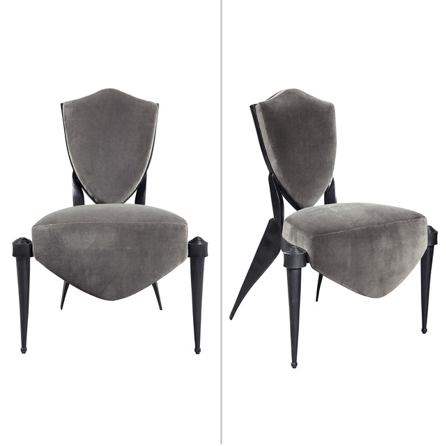 'Pair of André Dubreuil Upholstered Painted Aluminum Trévise Chairs', 1990s, Doyle