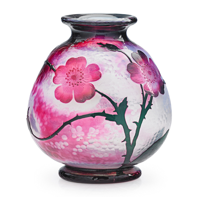 Daum, 'Vase With Roses, France', Early 20th C., Rago/Wright
