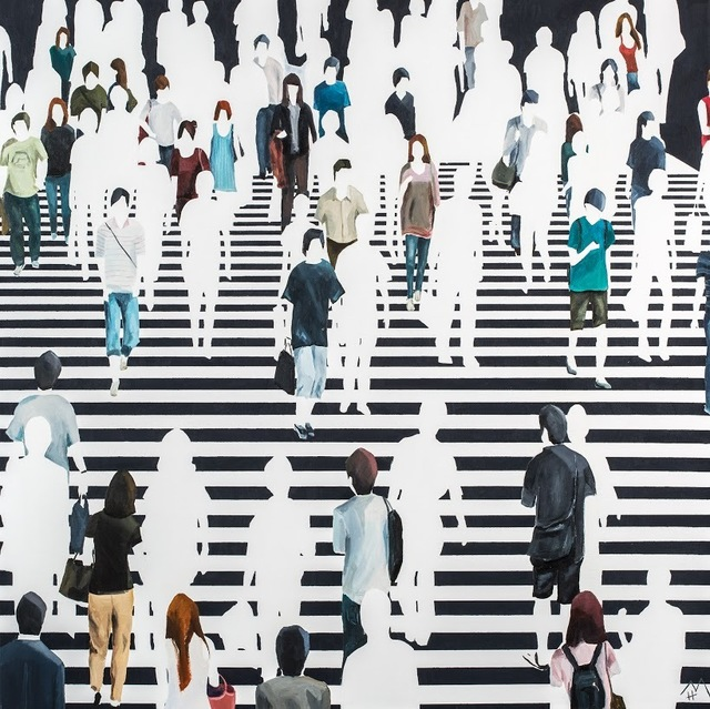 "Martta García Ramo, '""Elementos Discordantes"" oil painting of pedestrians walking on a black and white crosswalk', 2019, Eisenhauer Gallery"