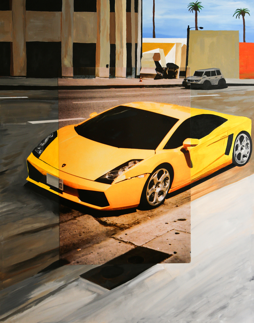 , 'Lamborghini in Downtown Hollywood, Original, Acrylic Paint, Photograph, Signed,' 2017, Flat Space Art