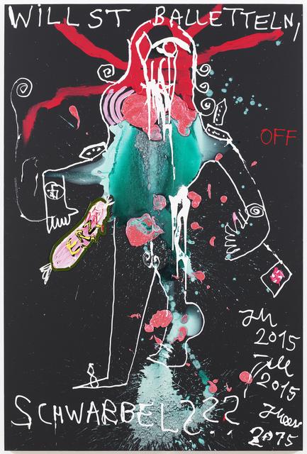 """, '""""DARF BALD BITTE DARTH VADER DE ZÄCK SCHLÄBBA RANKS DE BAYREUTHNS DIRIGEIERN ?!? MEESI IST DAFÜR, AN ALLE ANDEREN... (DIRIGEIERT MI NIT ON)"""",' 2015, Galerie Krinzinger"""